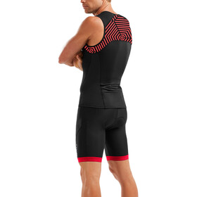 2XU Active Singlet Men black/flame scarlet print